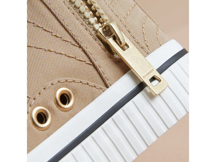 Topstitched Cotton Gabardine High-top Trainers in Honey | Burberry - cell image 1
