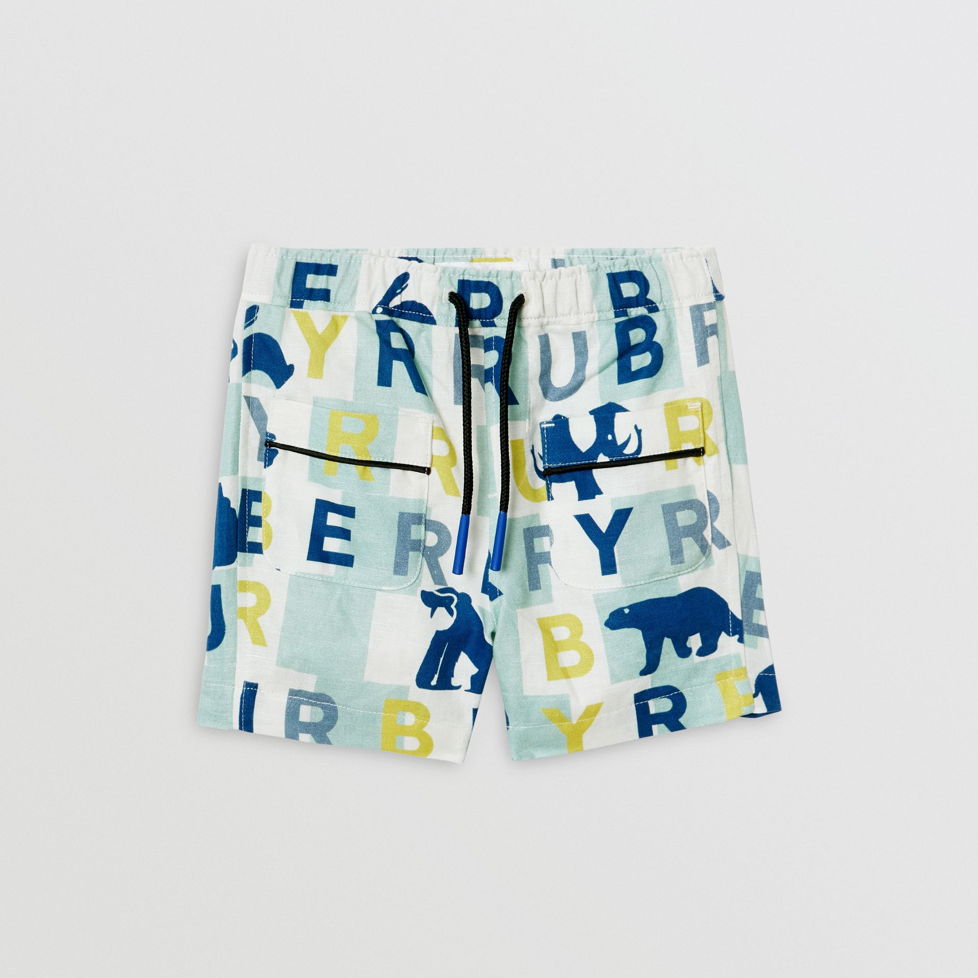 Logo Print Linen Cotton Shorts in Pale Mint - Children | Burberry - gallery image 0