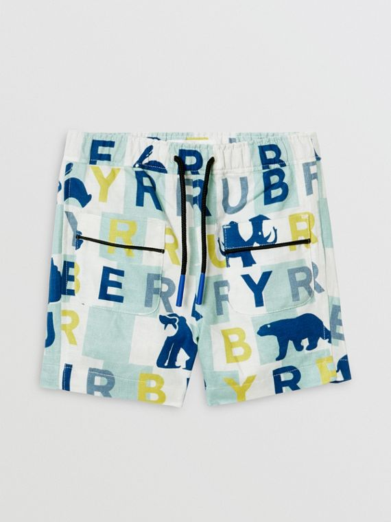 Logo Print Linen Cotton Shorts in Pale Mint