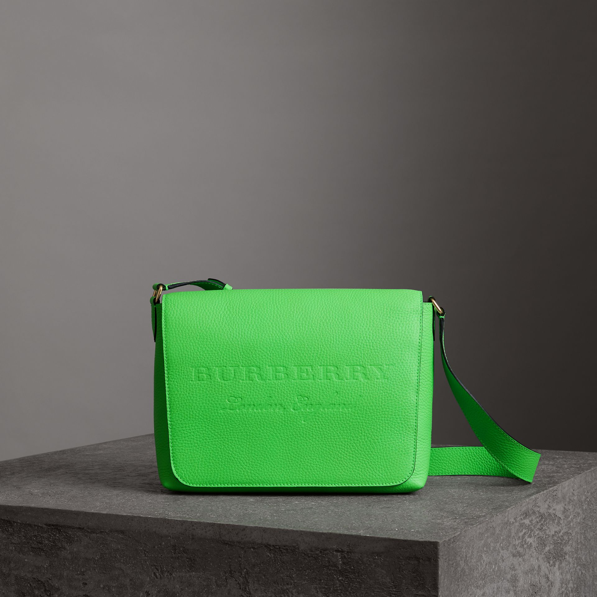 Medium Embossed Leather Messenger Bag in Neon Green | Burberry - gallery image 0