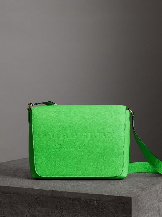 Medium Embossed Leather Messenger Bag in Neon Green