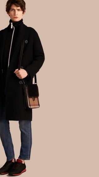 Manteau en laine et cachemire à double boutonnage avec doublure à motif check