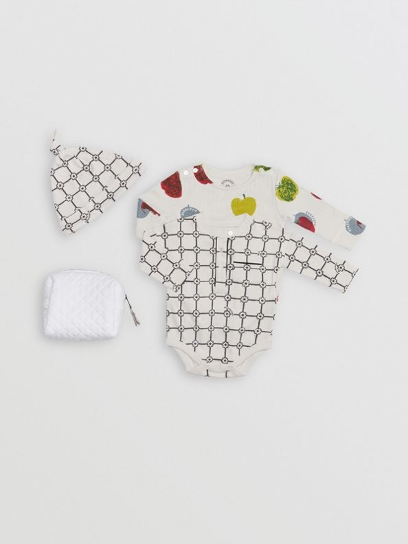 Apple and Floral Print Three-piece Baby Gift Set in Stone