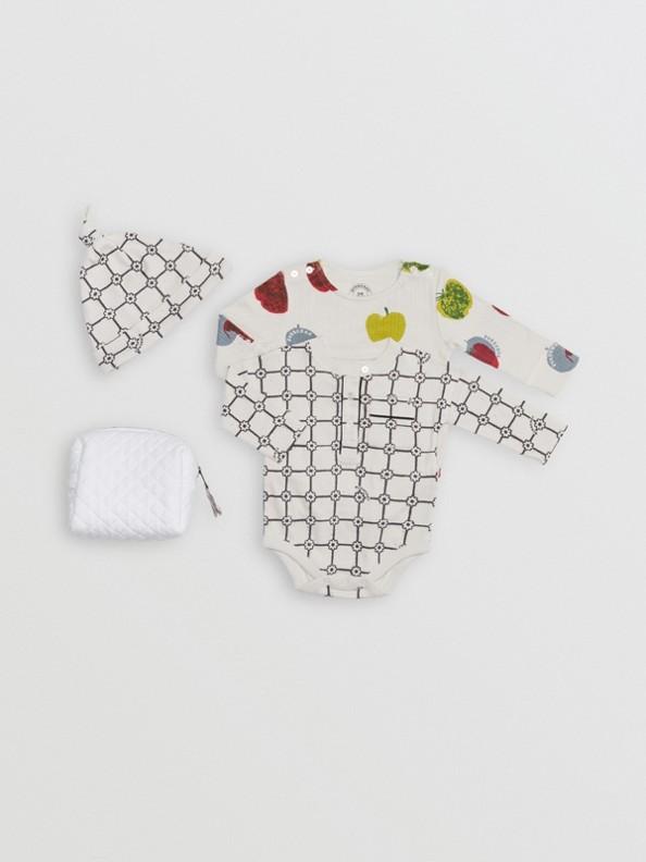 Conjunto de regalo para bebé de tres piezas con estampado de manzanas y flores (Piedra)