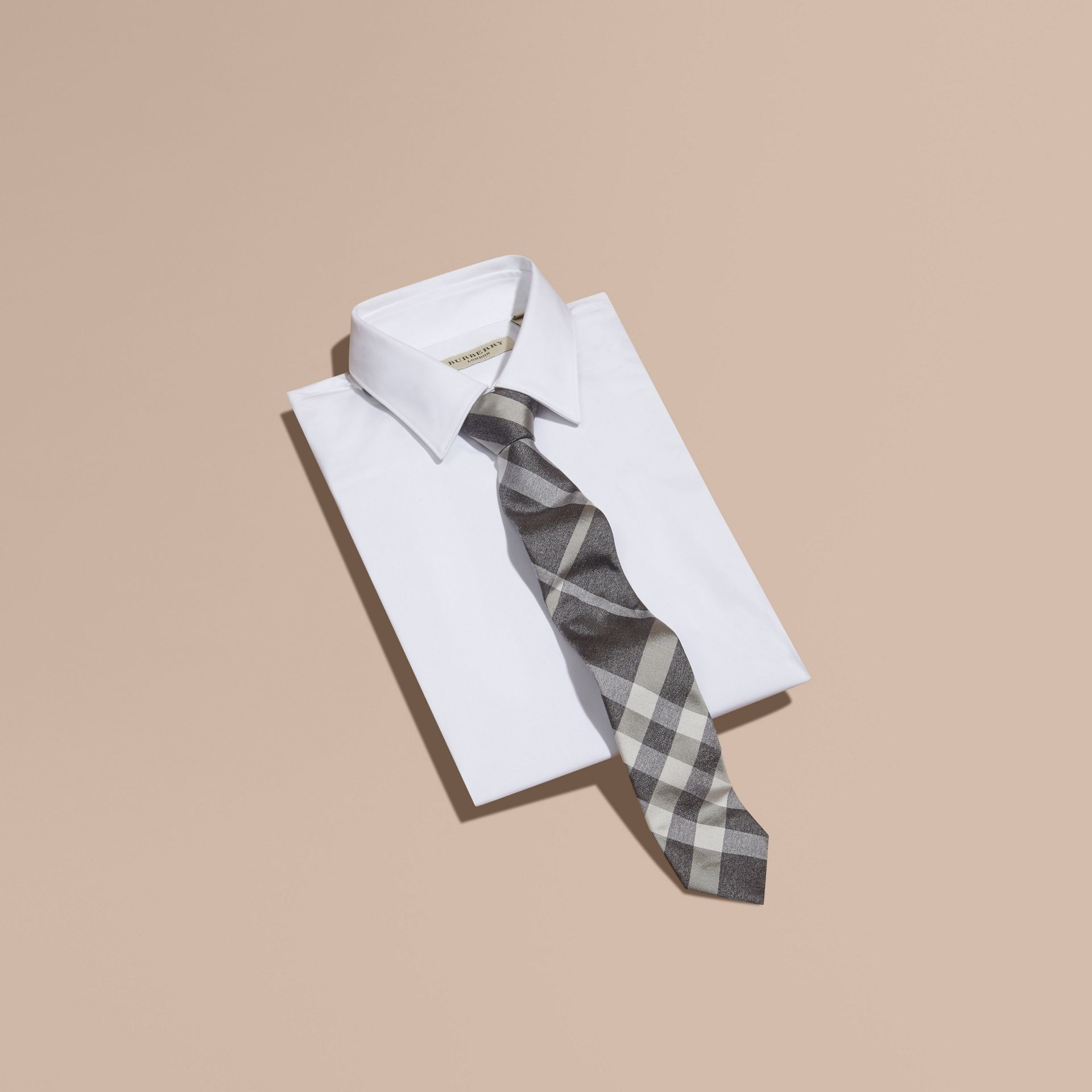 Light grey melange Modern Cut Check Jacquard Silk Tie Light Grey Melange - gallery image 3