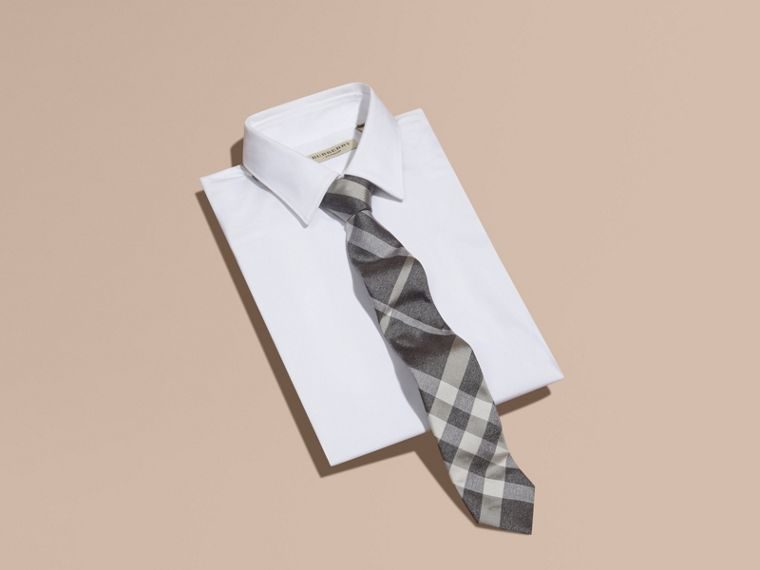 Light grey melange Modern Cut Check Jacquard Silk Tie Light Grey Melange - cell image 2