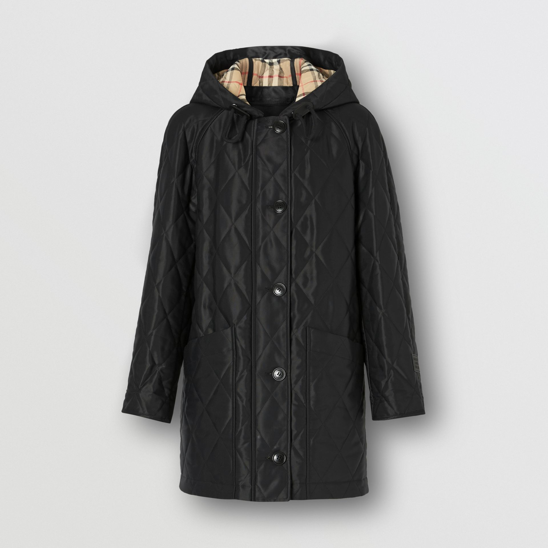 Diamond Quilted Cotton Blend Hooded Coat in Black - Women | Burberry - gallery image 3