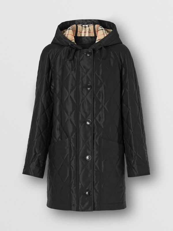 Diamond Quilted Cotton Blend Hooded Coat in Black - Women | Burberry - cell image 3