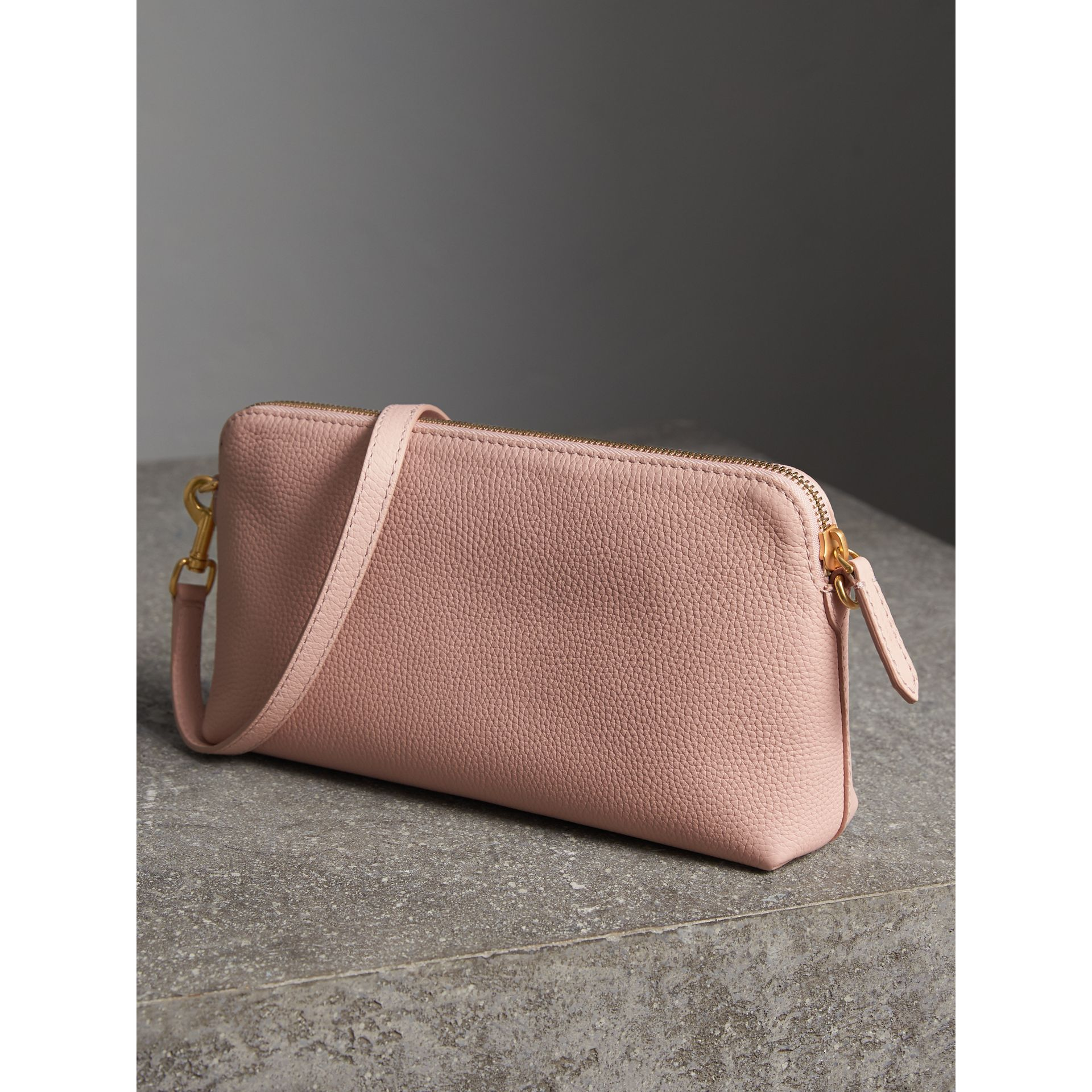 Embossed Leather Clutch Bag in Pale Ash Rose - Women | Burberry - gallery image 4