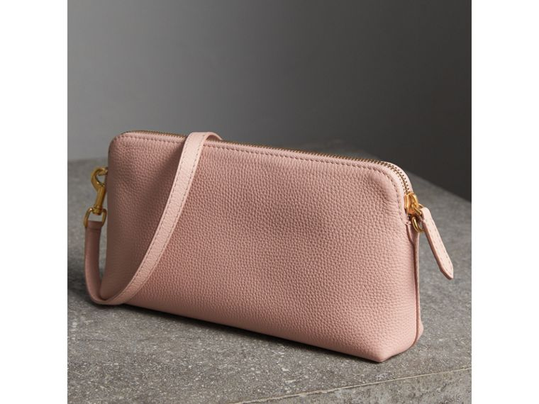 Embossed Leather Clutch Bag in Pale Ash Rose - Women | Burberry Australia - cell image 4