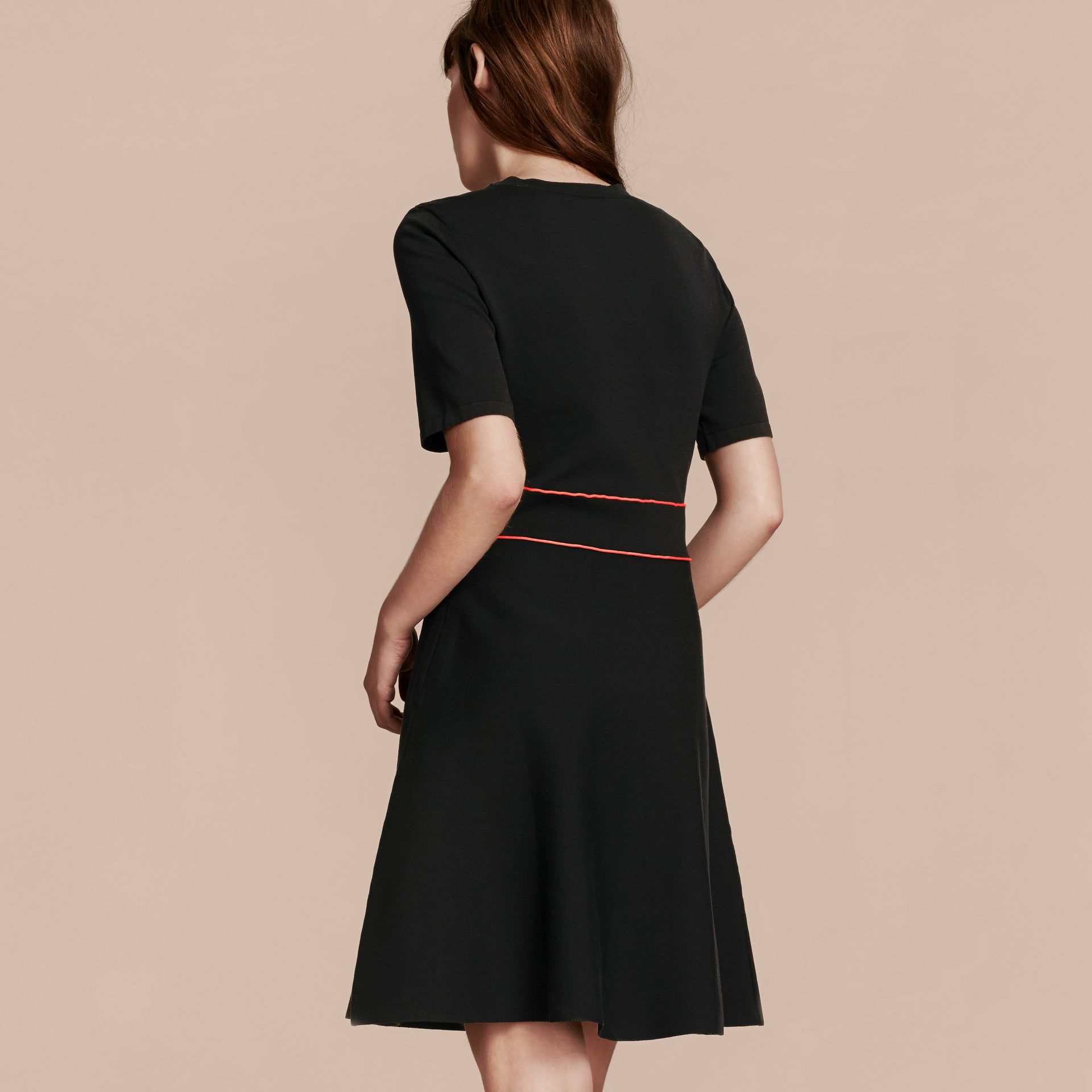 Black Technical Stretch Cotton Military Dress - gallery image 3