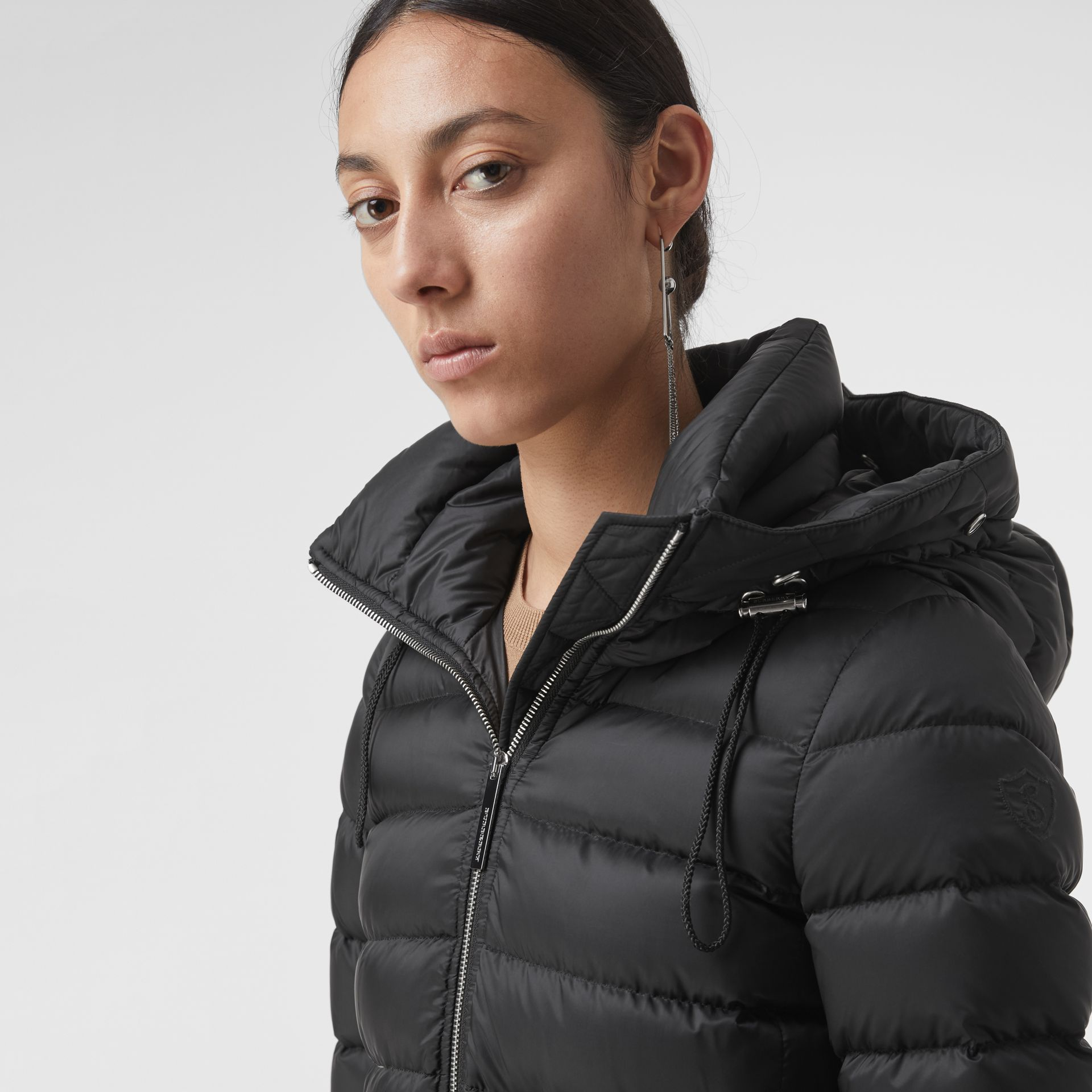 Detachable Shearling Trim Down-filled Puffer Coat in Black - Women | Burberry - gallery image 1