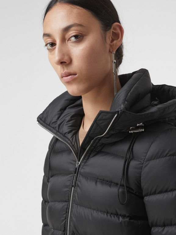 Detachable Shearling Trim Down-filled Puffer Coat in Black - Women | Burberry - cell image 1
