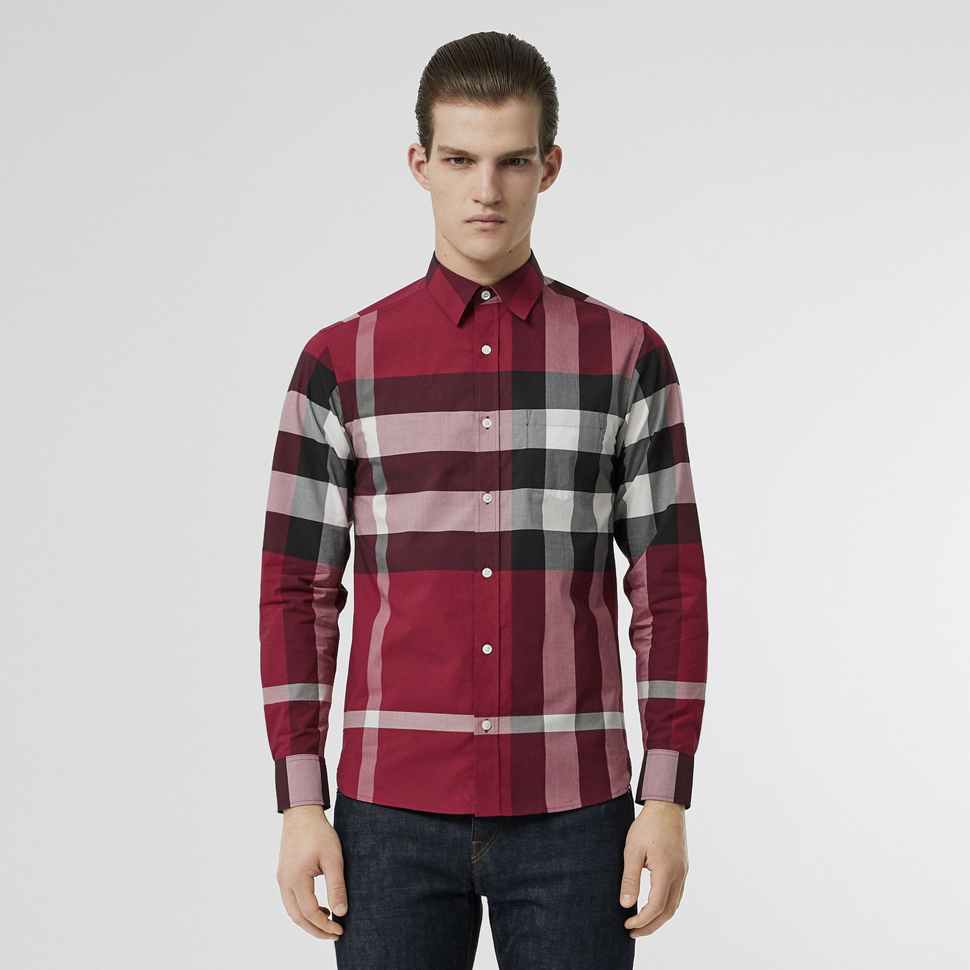 Check Stretch Cotton Shirt in Plum Pink - Men | Burberry - gallery image 0
