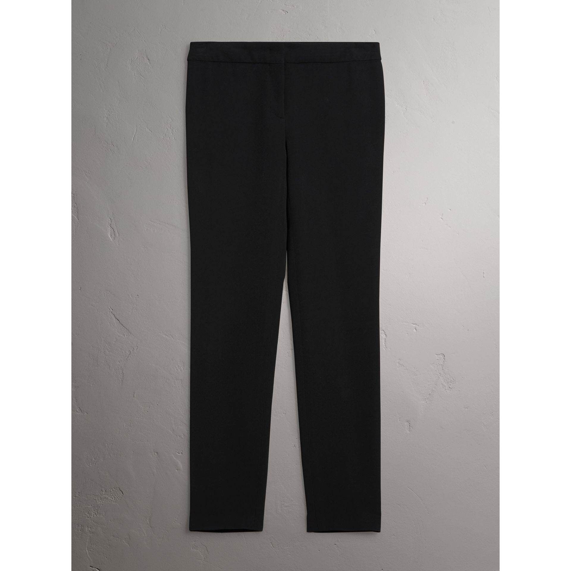 Slim Fit Faille Trousers in Black - Women | Burberry - gallery image 4