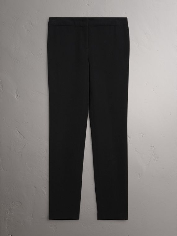 Slim Fit Faille Trousers in Black - Women | Burberry - cell image 3