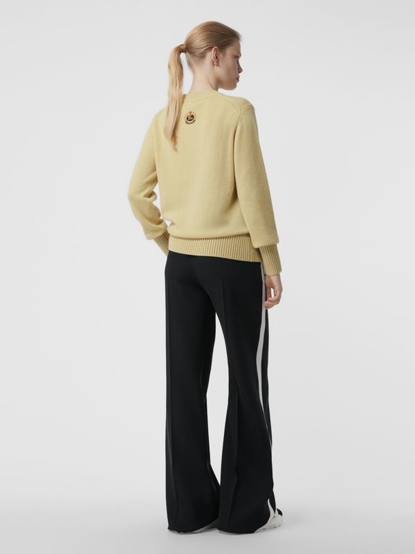 Archive Logo Appliqué Cashmere Sweater in Dusty Yellow - Women | Burberry Canada - cell image 2