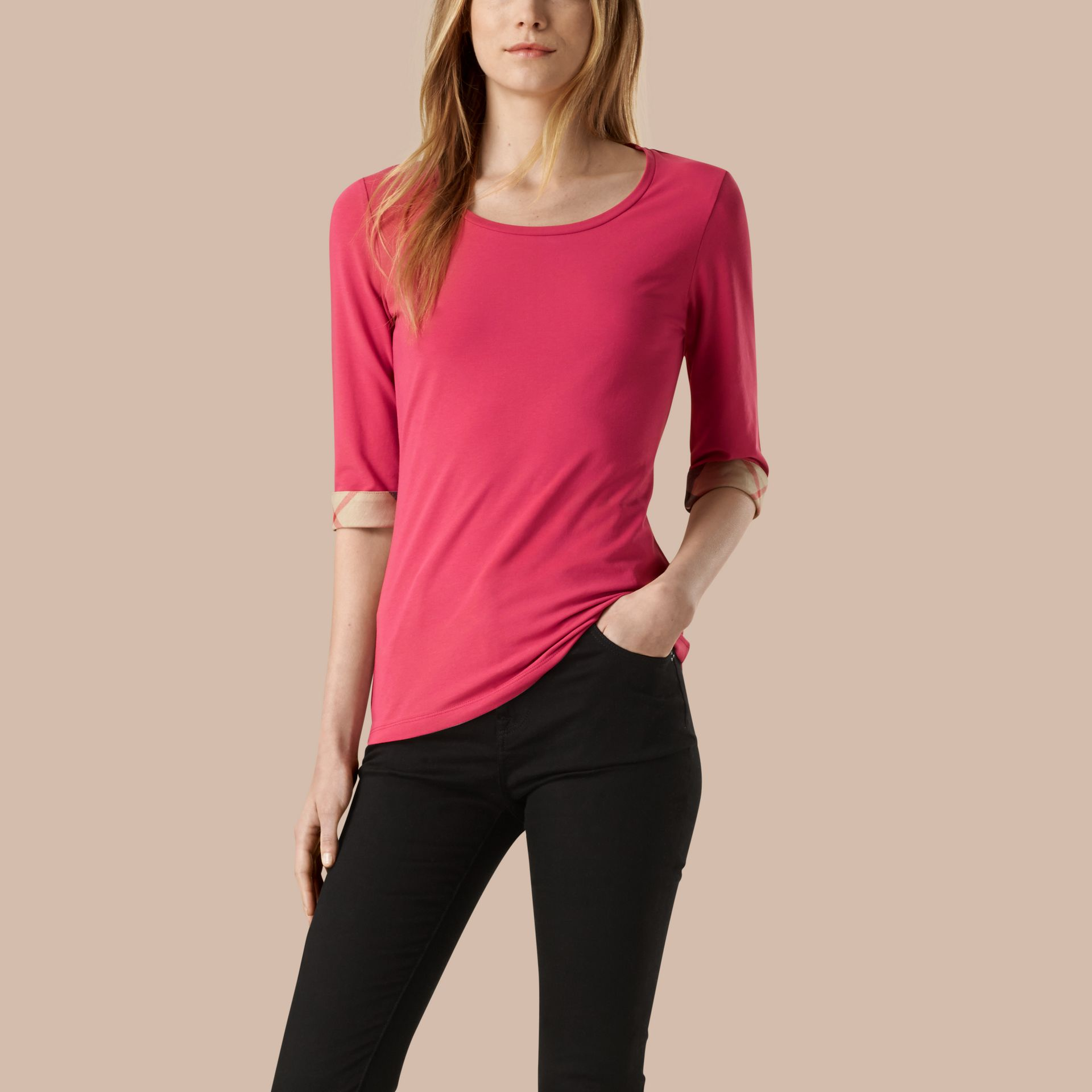 Bright rose Check Cuff Stretch-Cotton Top Bright Rose - gallery image 1