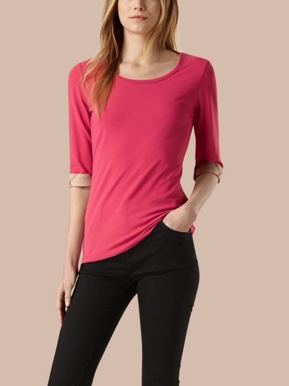 Check Cuff Stretch-Cotton Top Bright Rose
