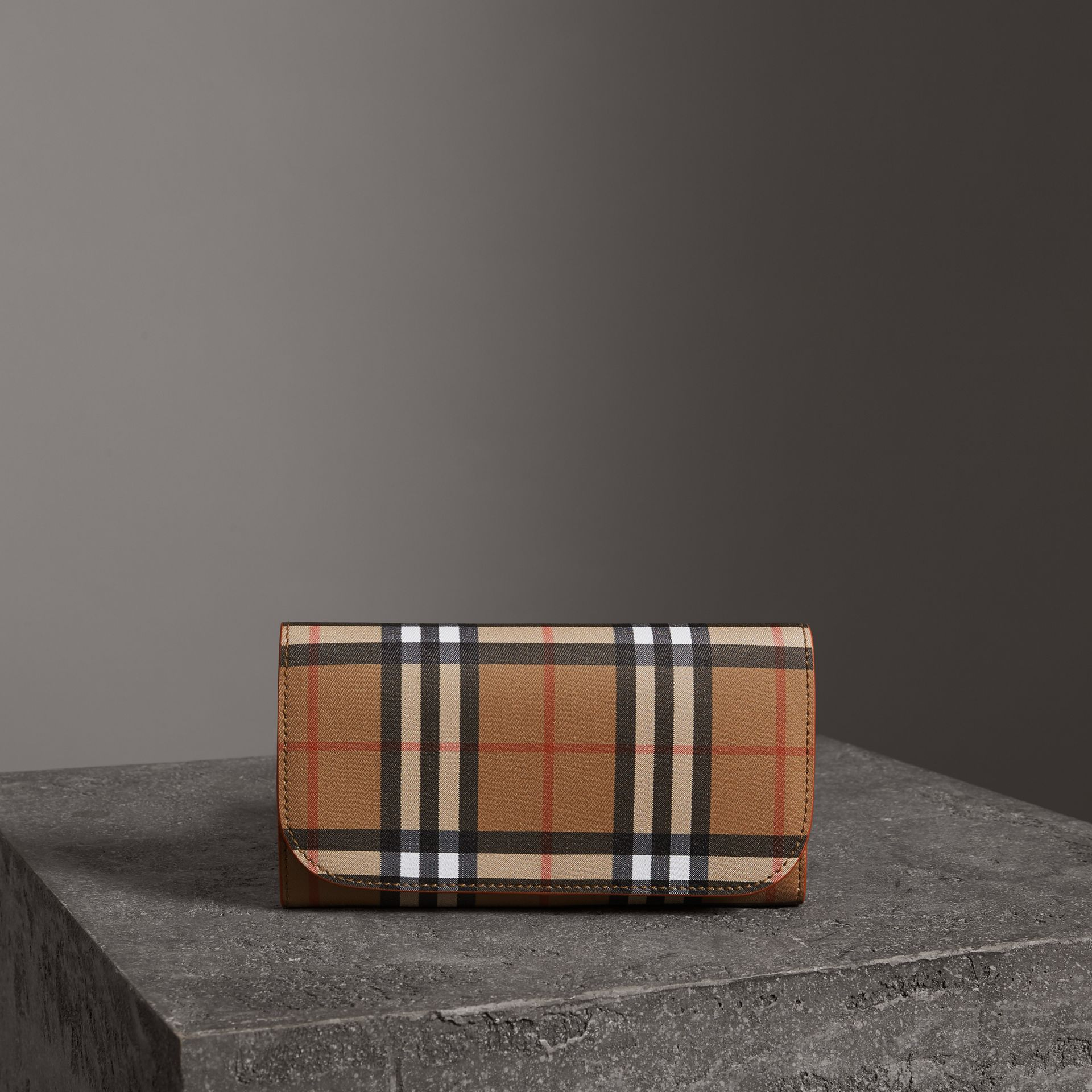 Vintage Check Continental Wallet with Zip Card Case in Clementine - Women | Burberry - gallery image 0