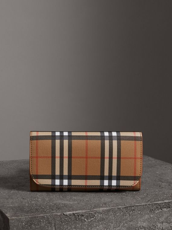 Vintage Check Continental Wallet and Pouch in Clementine