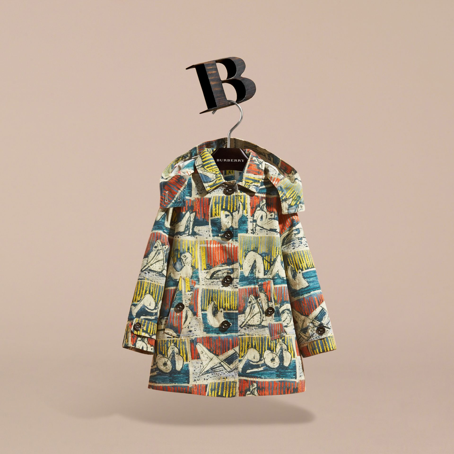 Reclining Figures Print Hooded Cotton Trench Coat in Stone Blue | Burberry - gallery image 4