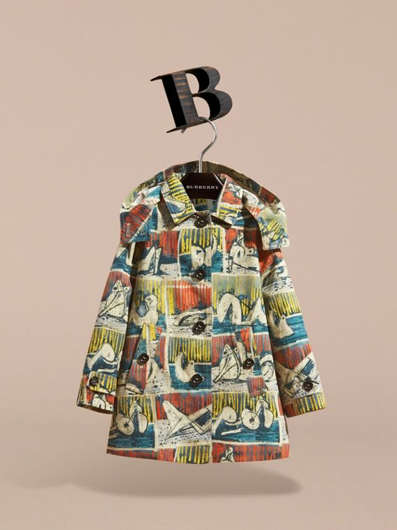Reclining Figures Print Hooded Cotton Trench Coat in Stone Blue | Burberry - cell image 3