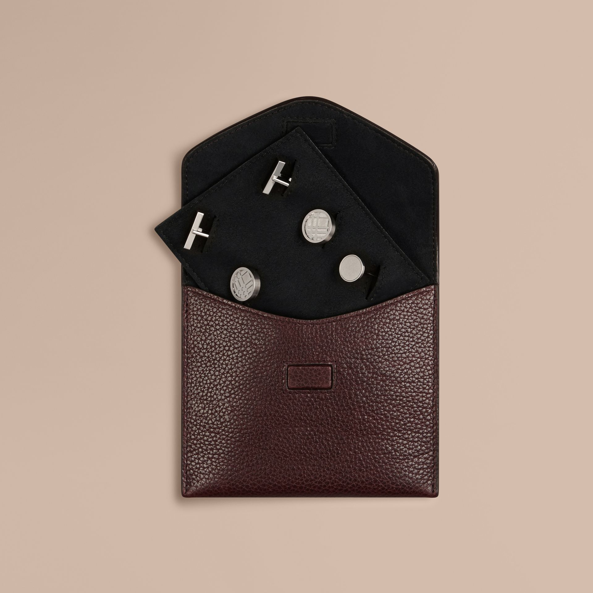 Grainy Leather Cufflink Case in Ebony Red - Men | Burberry - gallery image 1
