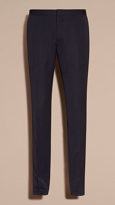 Navy Virgin Wool Tuxedo Trousers Navy - Image 5