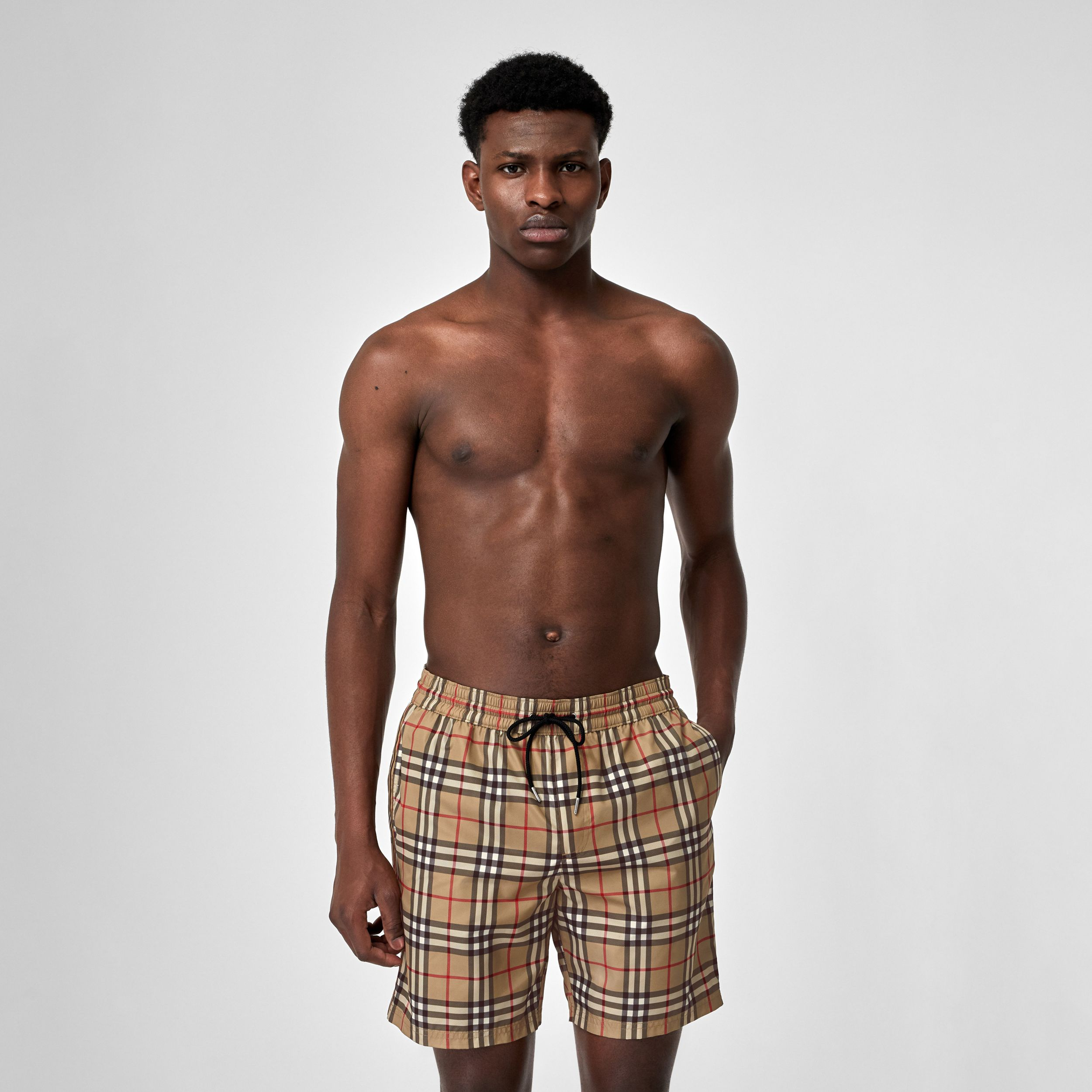 Vintage Check Drawcord Swim Shorts in Archive Beige - Men | Burberry - 1