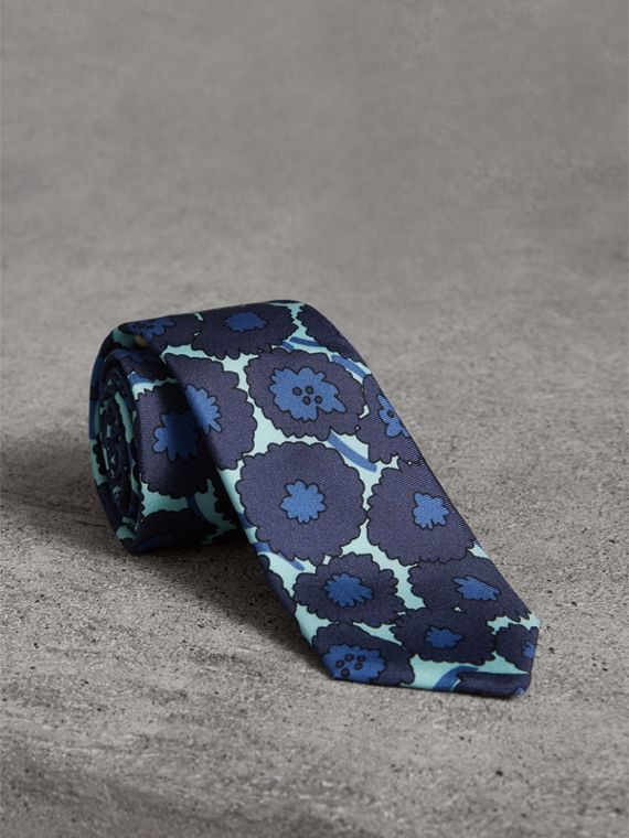 Slim Cut Abstract Floral Print Silk Tie in Indigo Blue