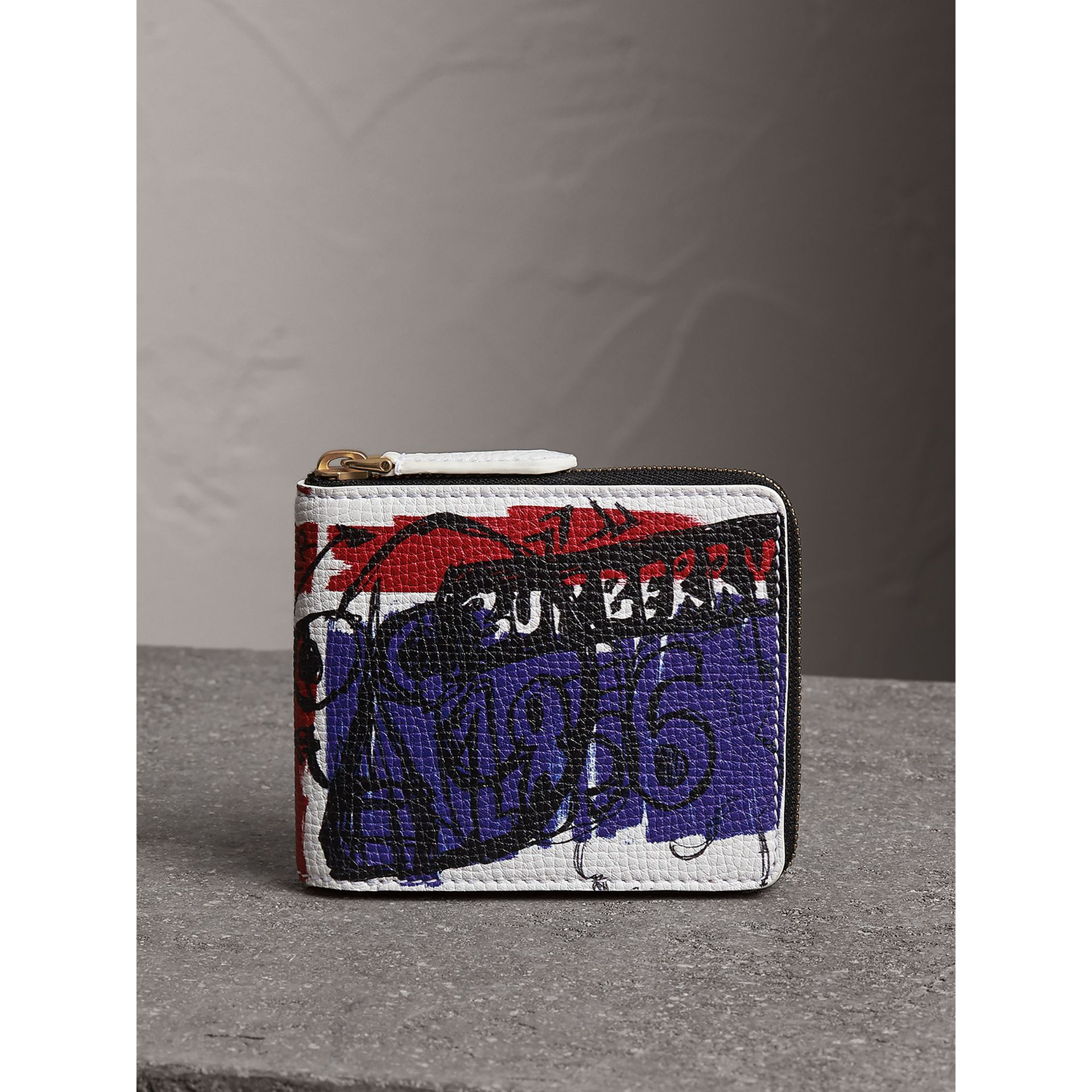 Doodle Print Leather Ziparound Wallet in White - Men | Burberry - gallery image 4