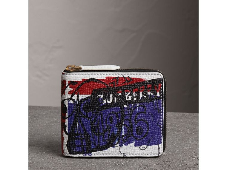 Doodle Print Leather Ziparound Wallet in White - Men | Burberry - cell image 4