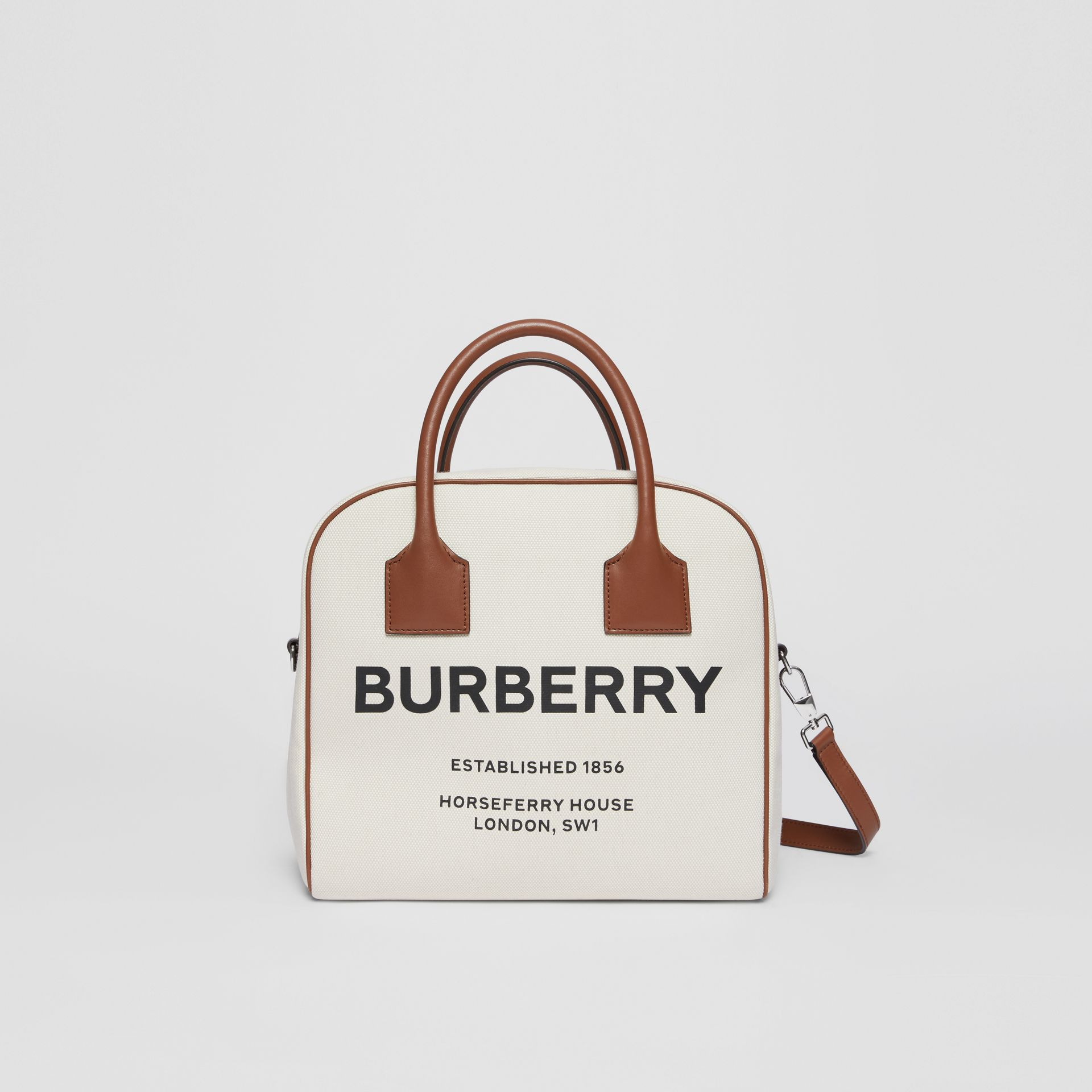 Borsa Cube media in tela con stampa Horseferry (Naturale/marrone Malto) - Donna | Burberry - immagine della galleria 1