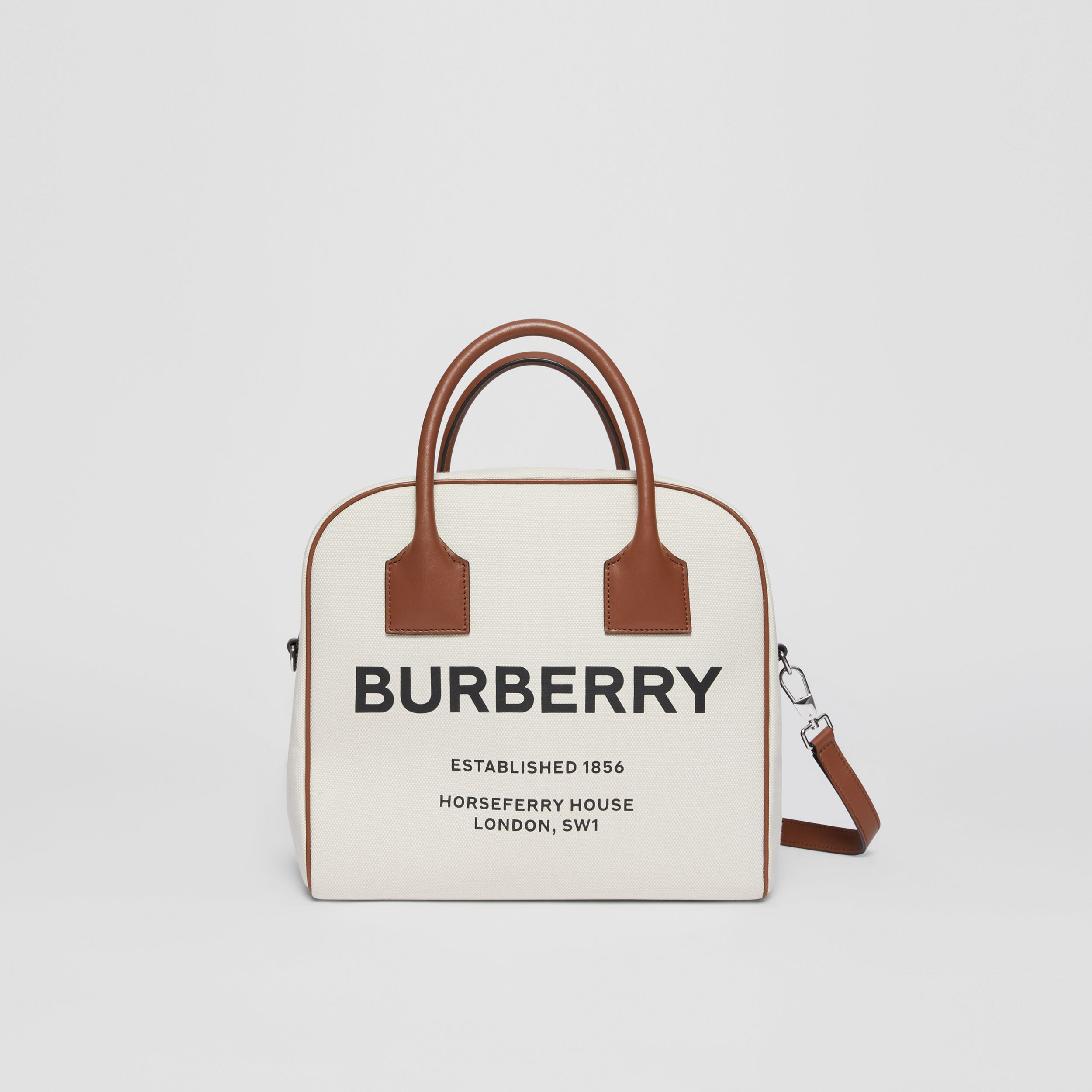 Medium Horseferry Print Canvas Cube Bag in Natural/malt Brown - Women | Burberry - 2