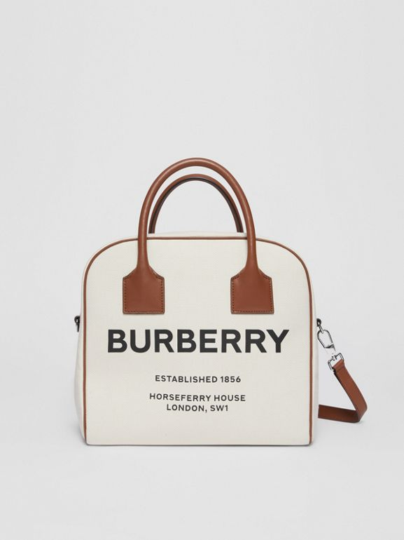 Medium Horseferry Print Canvas Cube Bag in Natural/malt Brown - Women | Burberry - cell image 1