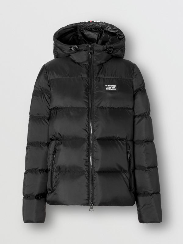 Monogram Stripe Print Hooded Puffer Jacket in Black - Women | Burberry - cell image 3