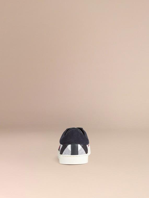 海軍藍 Canvas 格紋拼皮革運動鞋 - cell image 3