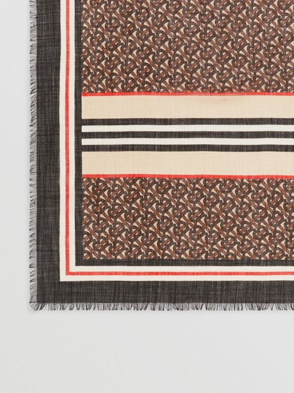 Icon Stripe Monogram Print Wool Silk Square Large Scarf in Dark Mocha | Burberry Australia - cell image 1