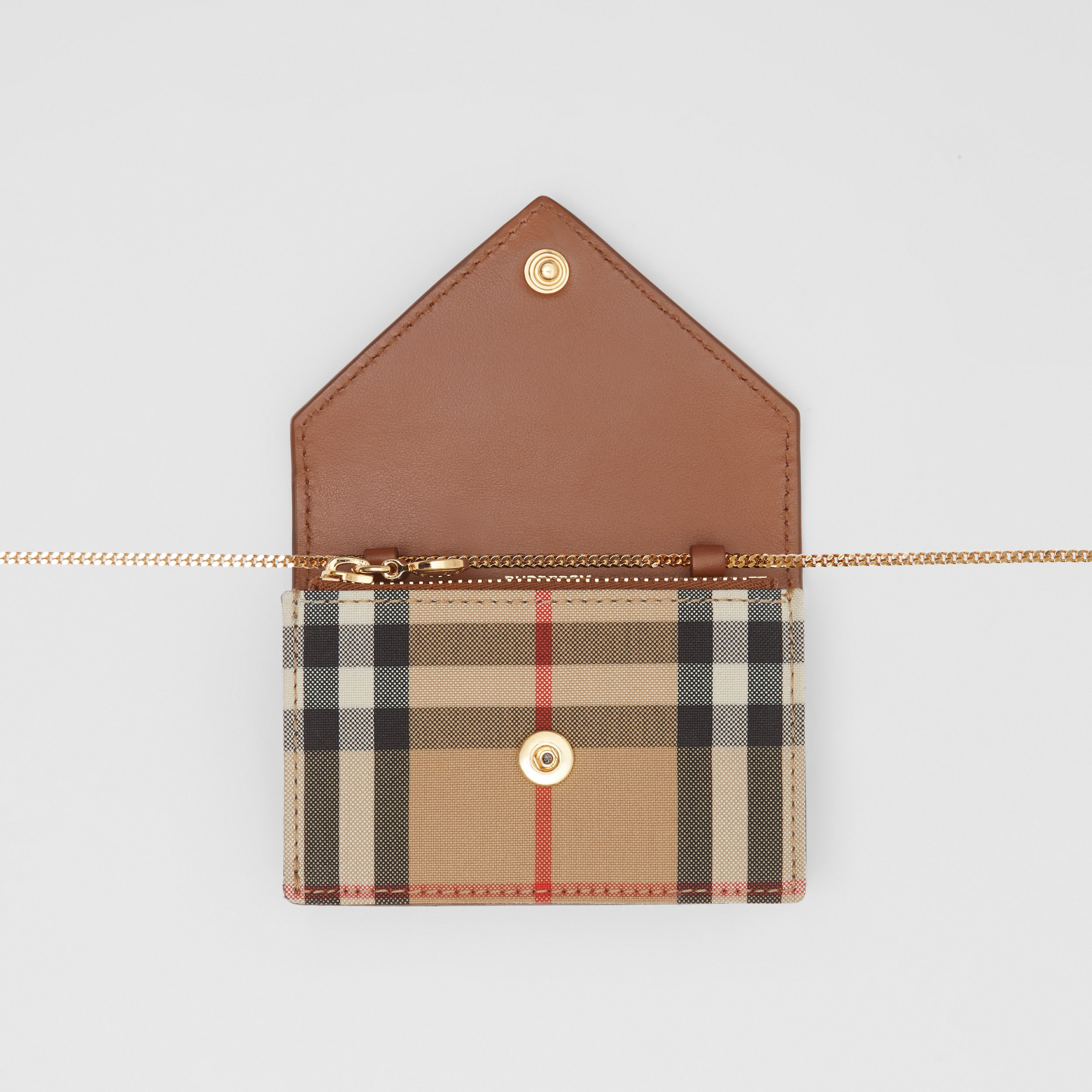 Vintage Check and Leather Card Case with Strap in Tan - Women | Burberry United Kingdom - 2