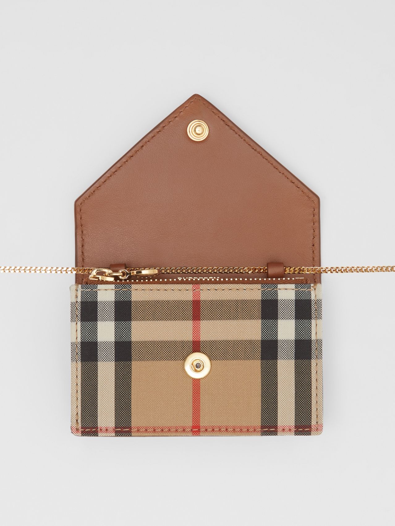 Vintage Check and Leather Card Case with Strap in Tan
