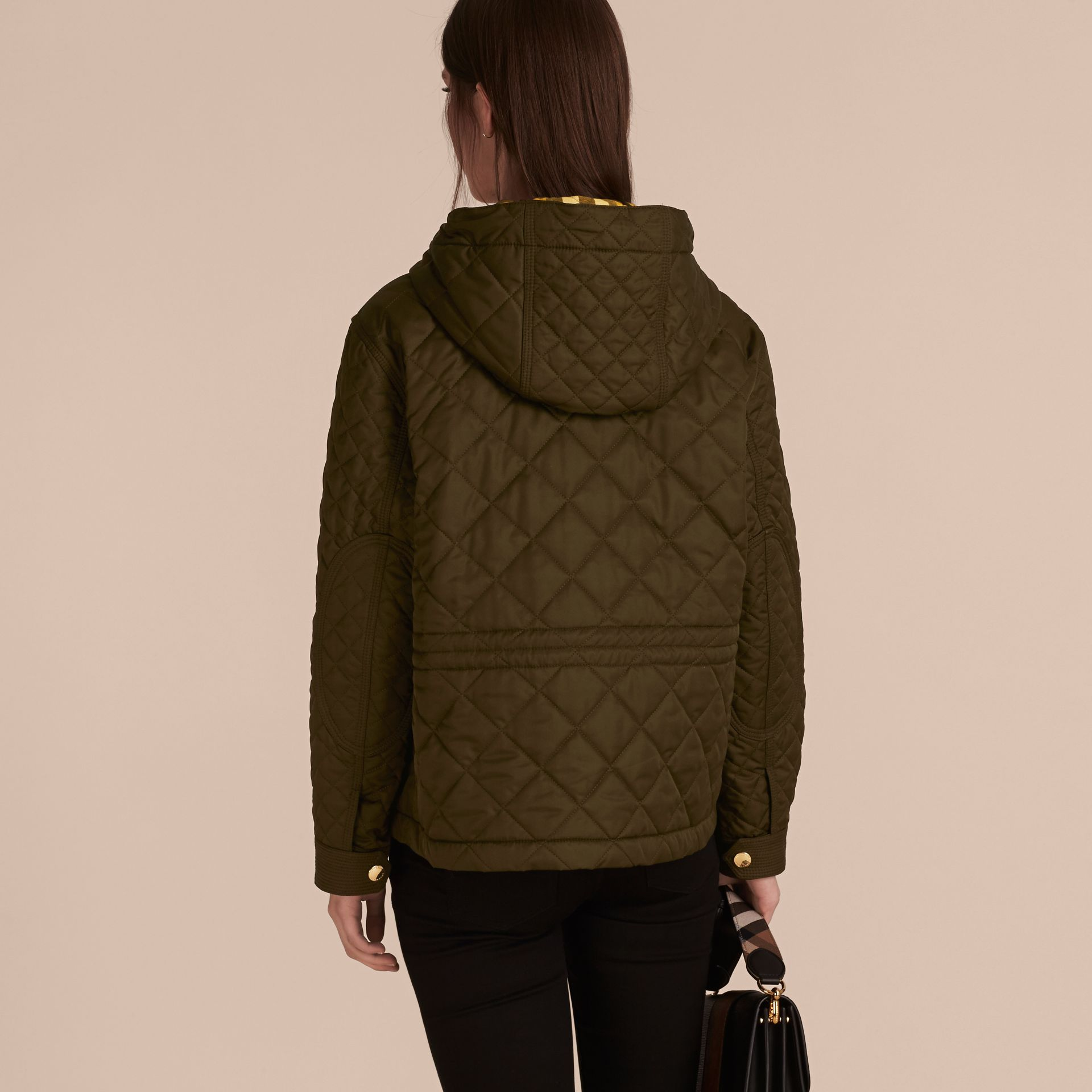 Diamond Quilted Hooded Jacket with Check Lining Dark Olive - gallery image 3