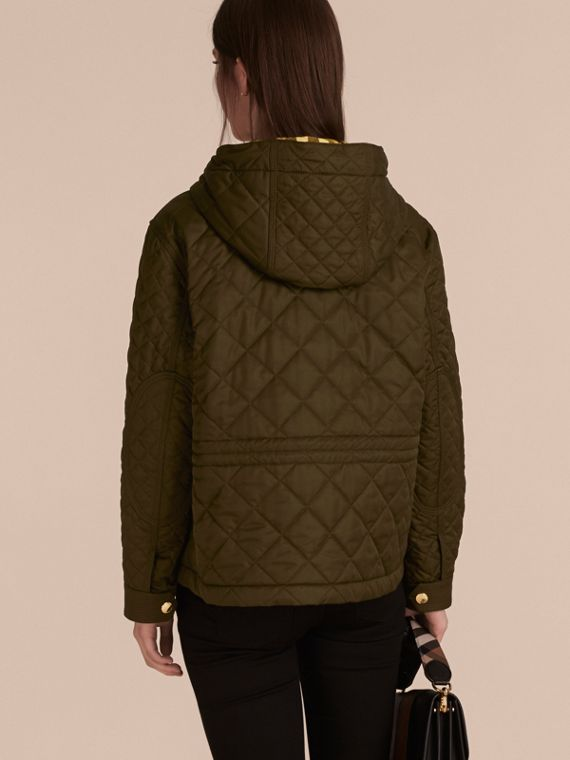 Diamond Quilted Hooded Jacket with Check Lining Dark Olive - cell image 2