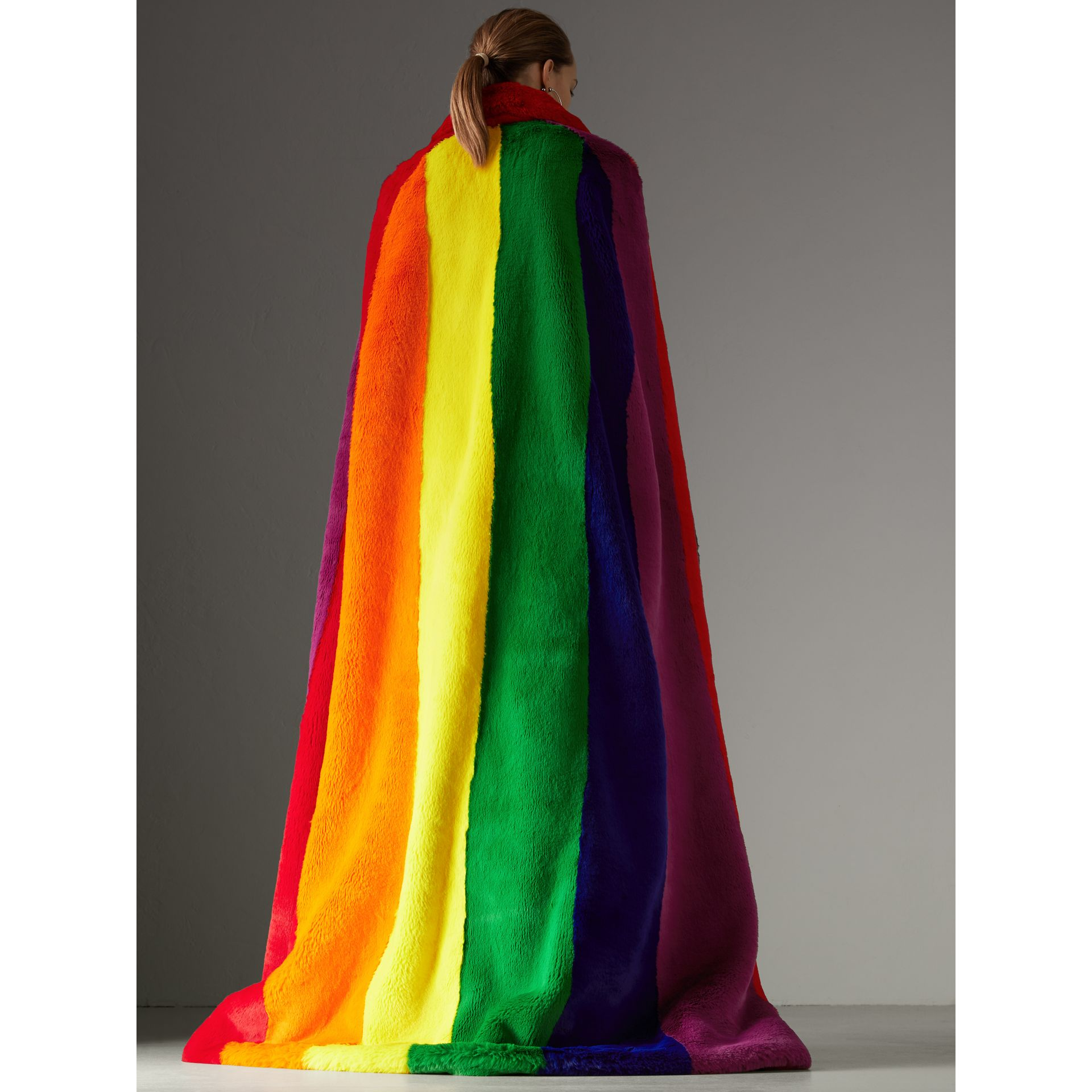 Rainbow Faux Fur Cape - Women | Burberry United States - gallery image 2