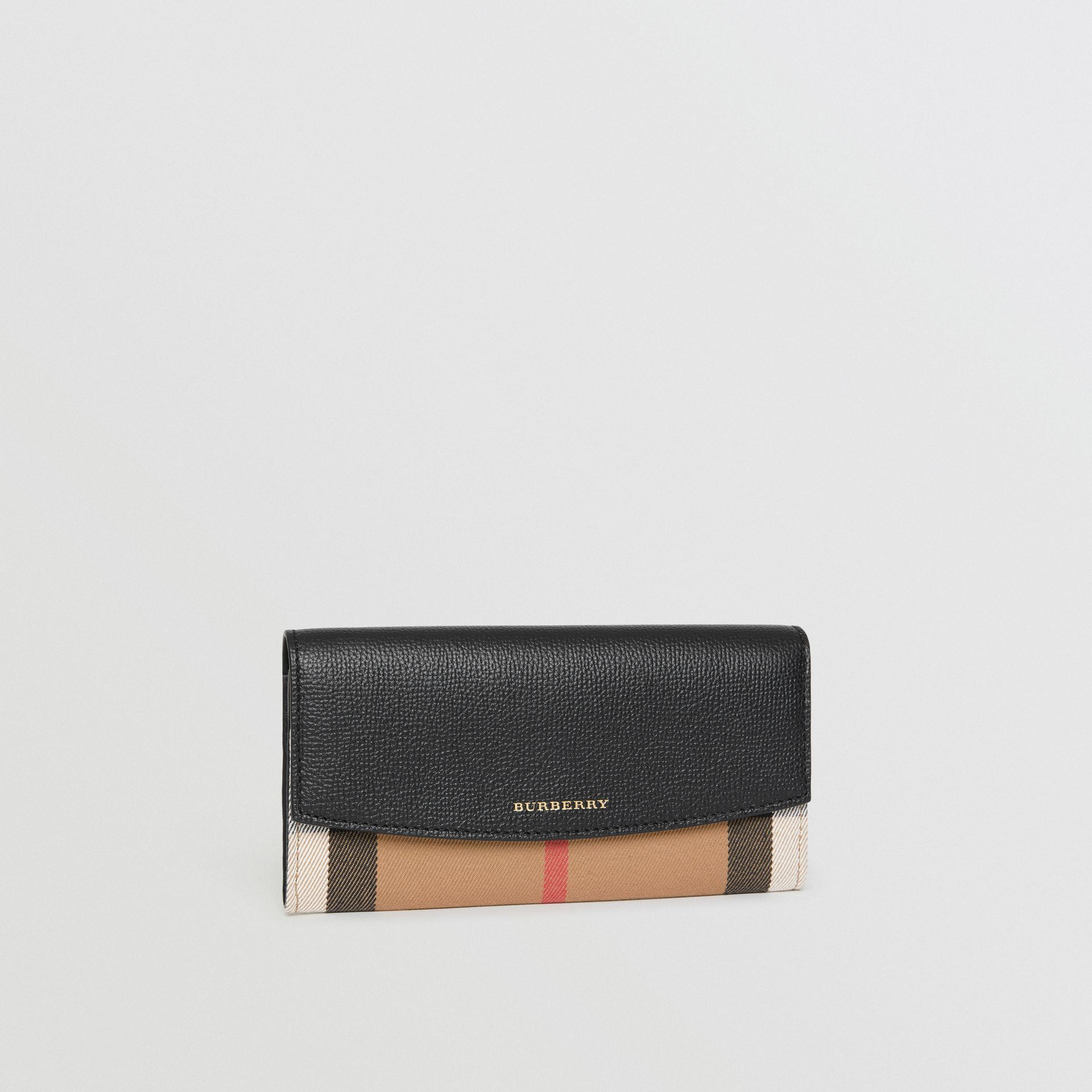 House Check And Leather Continental Wallet in Black - Women | Burberry - gallery image 4