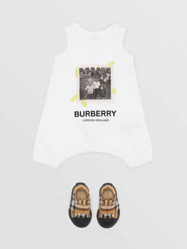 Vintage Photo Print Cotton Bodysuit in White - Children | Burberry - cell image 2