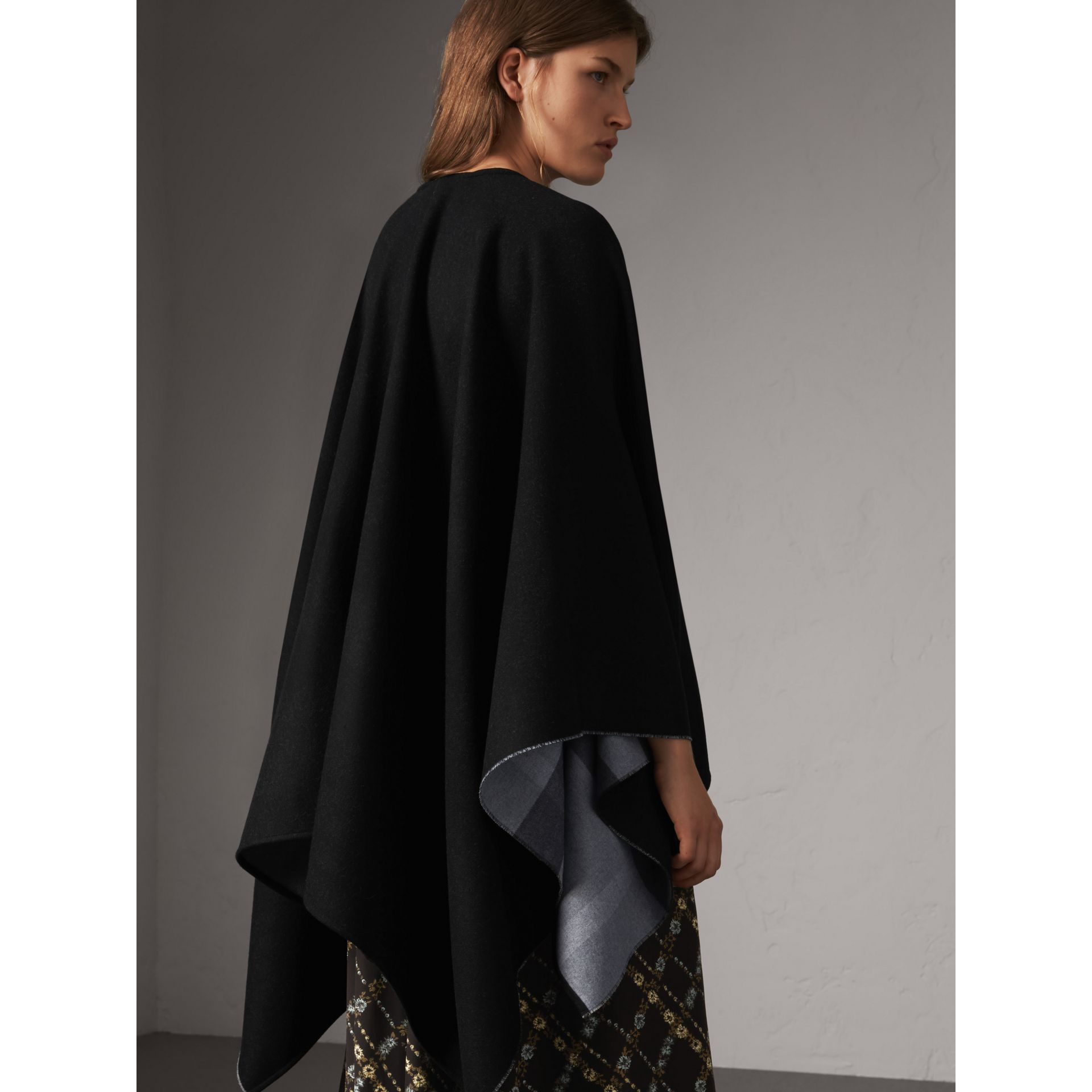Reversible Check Merino Wool Poncho in Charcoal - Women | Burberry - gallery image 3