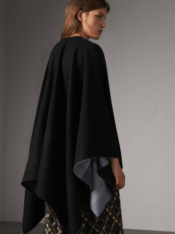 Reversible Check Merino Wool Poncho in Charcoal - Women | Burberry Australia - cell image 2