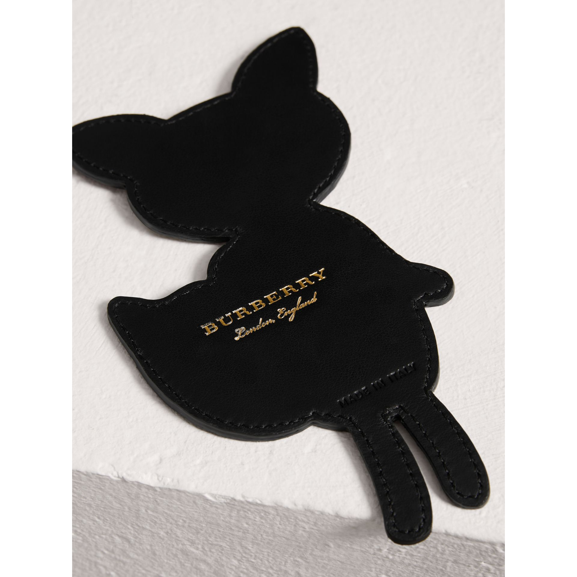 Fox Appliqué Leather and Haymarket Check Bookmark in Black | Burberry - gallery image 1