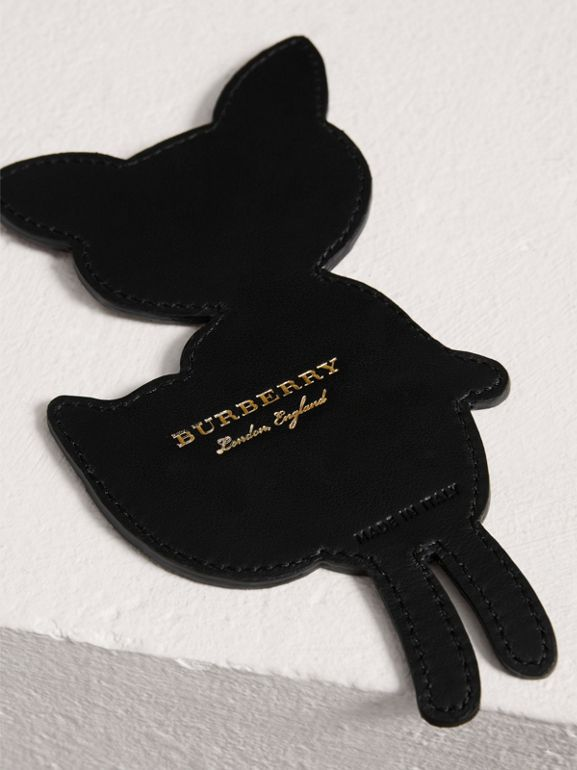 Fox Appliqué Leather and Haymarket Check Bookmark in Black | Burberry - cell image 1